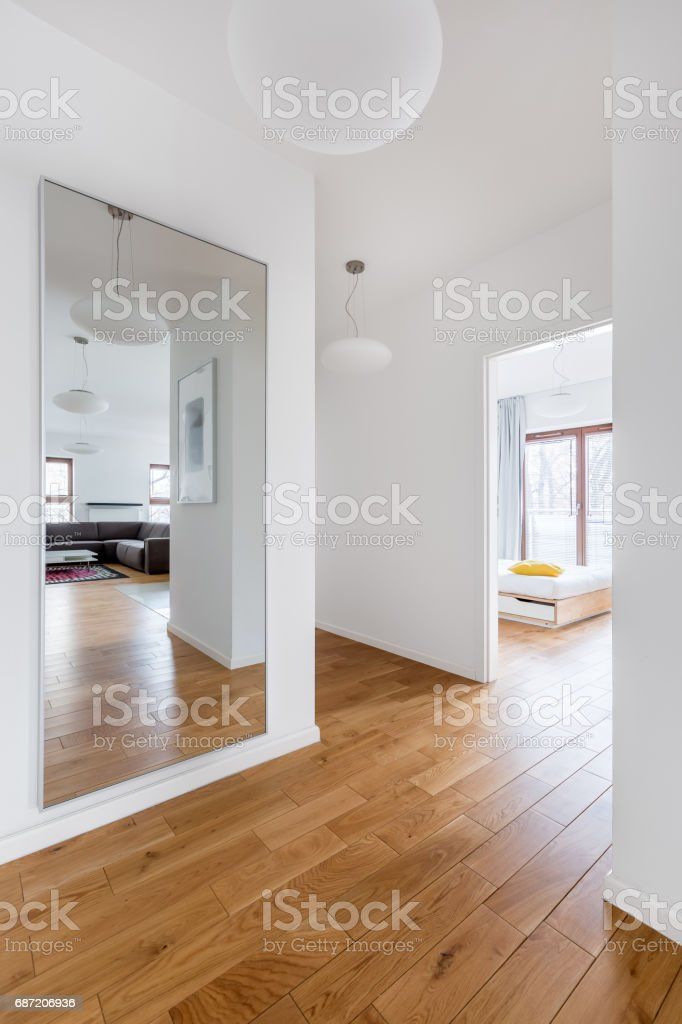 Hall with big mirror stock photo