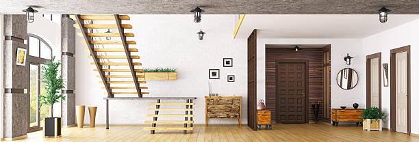 halle mit treppe 3d-abbildung - dielenkommoden stock-fotos und bilder