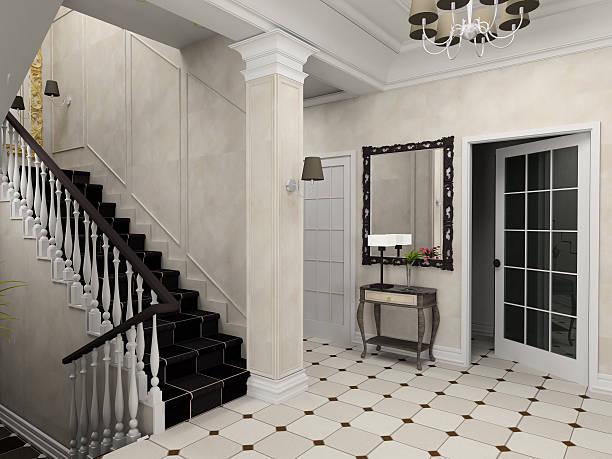 halle mit der klassischen treppe - wandleuchte treppenhaus stock-fotos und bilder