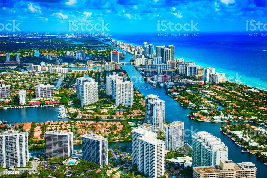 Hallandale Beach Florida Aerial stock photo