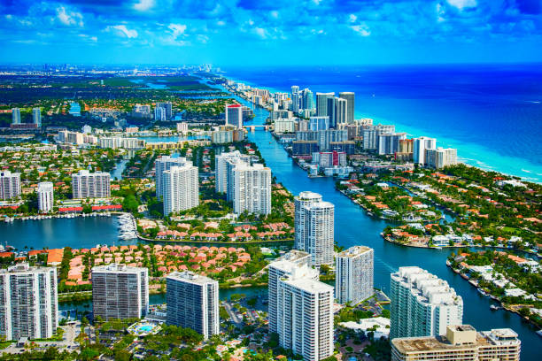 hallandale beach florida aerial - miami stock photos and pictures