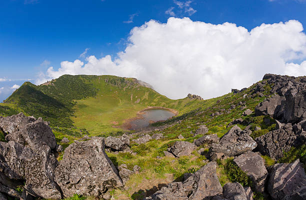 hallasan volcano crater on jeju island in south korea. - jeju island stock photos and pictures