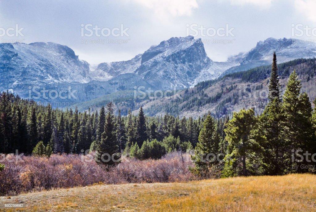 Hallett Peak and Moraine Park stock photo