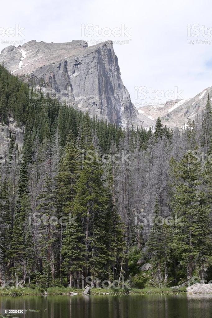Hallett Peak from Dream Lake stock photo