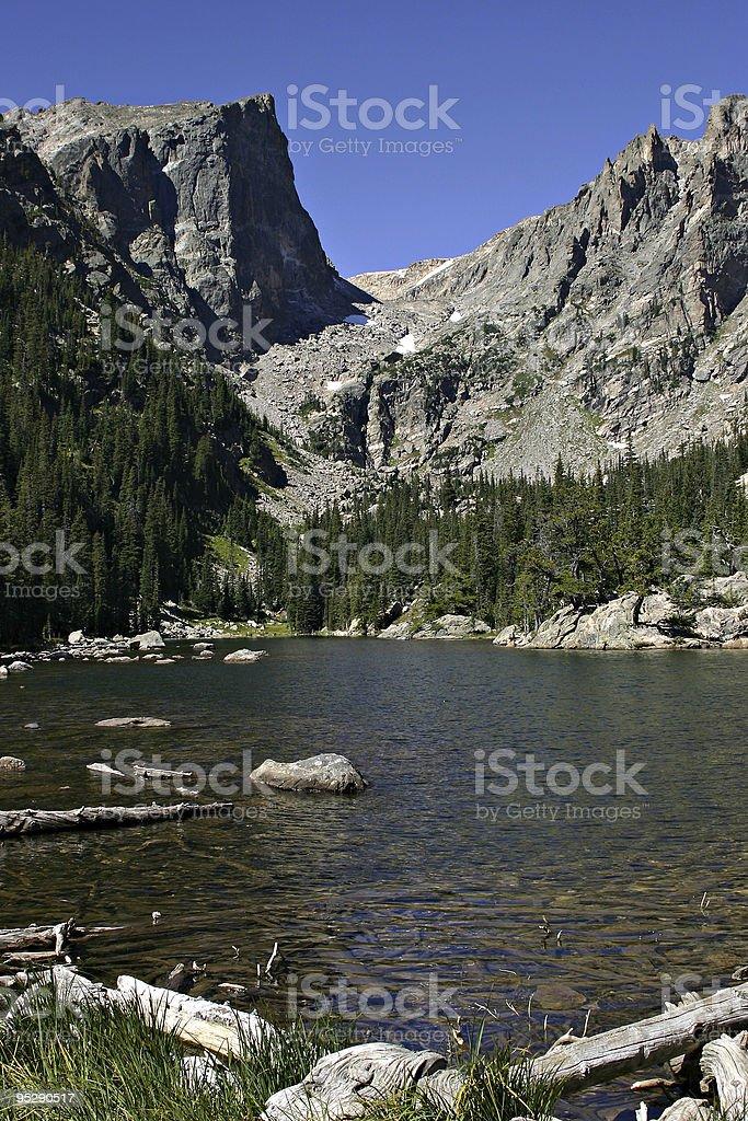 Hallett Peak from Dream Lake, Rocky Mountain National Park, Colorado stock photo
