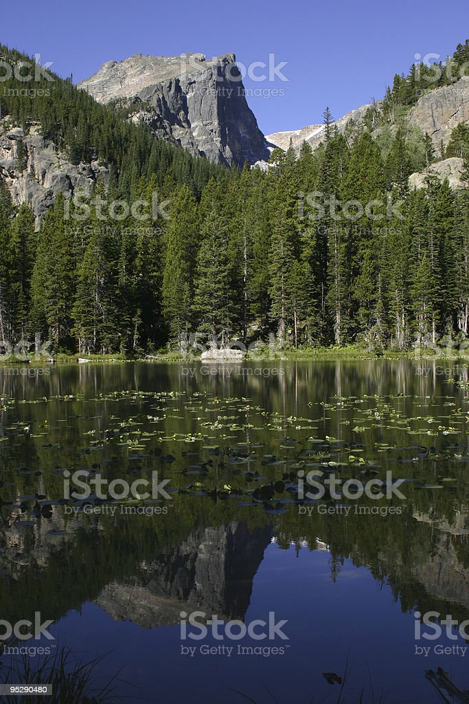 Hallett Peak From Nymph Lake, Rocky Mountain National Park, Colorado stock photo