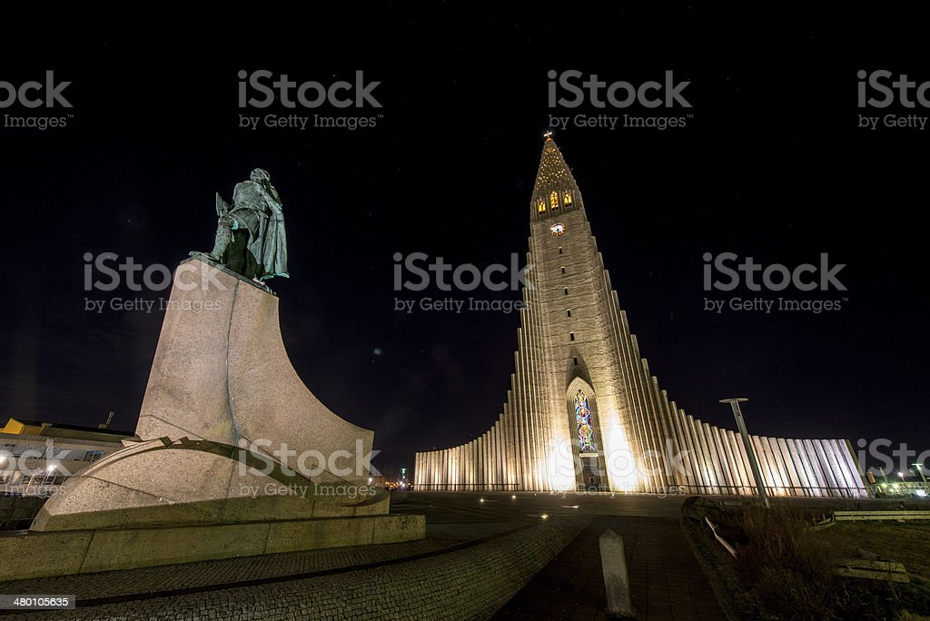 Hallgrimskirkja Cathedral in Reykjavik , Iceland stock photo