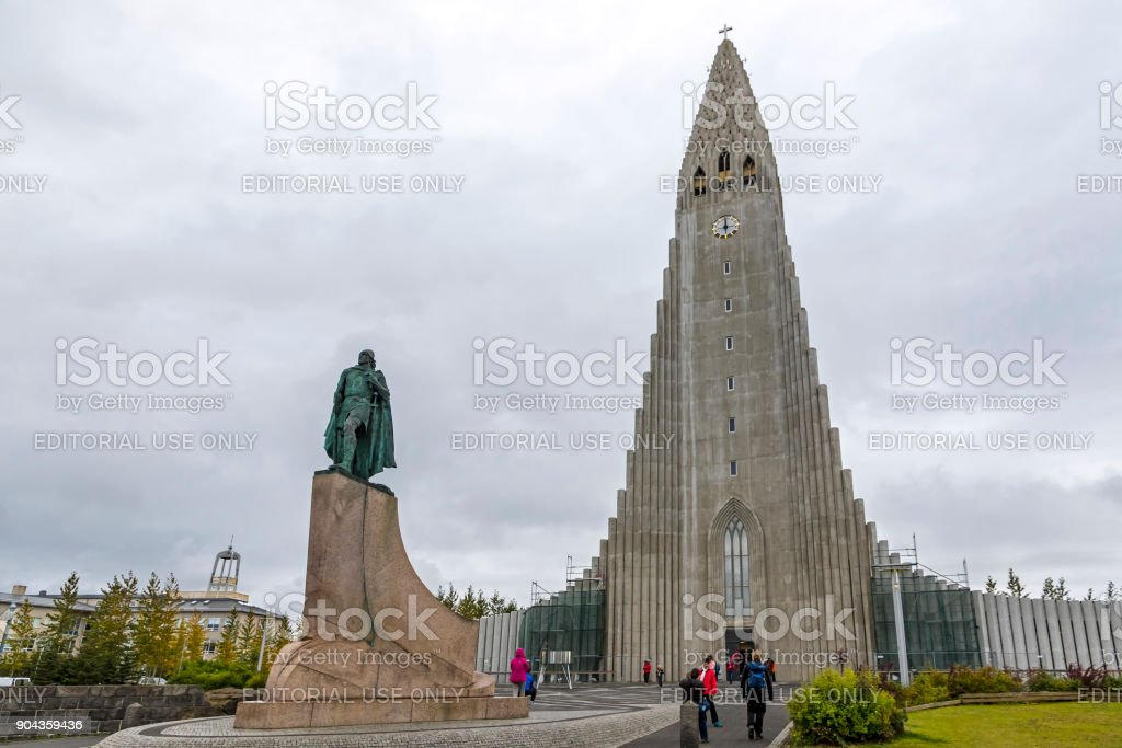 Hallgrimskirkja Cathedral in Reykjavík, Iceland stock photo