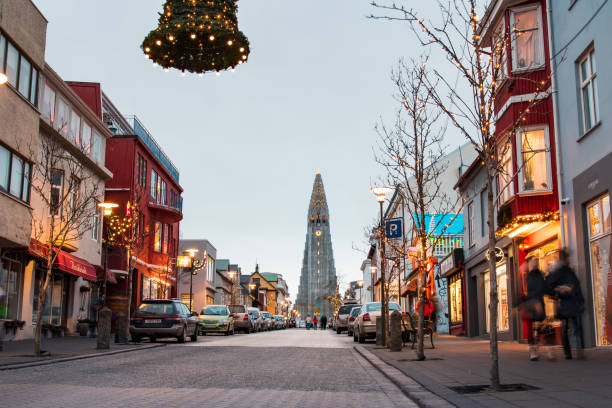 Hallgrimskirkja church and main downtown area in Reykjavik, Iceland during winter morning Reykjavik, Iceland - December 25, 2018: Hallgrimskirkja church and main downtown area in Reykjavik, Iceland during long winter morning Hallgrímskirkja church stock pictures, royalty-free photos & images