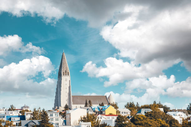 Hallgrimskirkja In Iceland Famous Reykjavik's cathedral Hallgrimskirkja (Iceland). Hallgrímskirkja church stock pictures, royalty-free photos & images