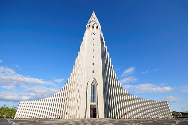 Hallgrimskirkja in Iceland The Hallgrímskirkja is a Lutheran (Church of Iceland) parish church in Reykjavík, Iceland. At 74.5 metres (244 ft), it is the largest church in Iceland and the sixth tallest architectural structure in Iceland. Hallgrímskirkja church stock pictures, royalty-free photos & images