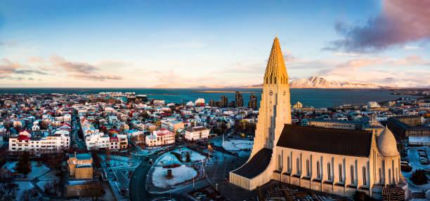 Hallgrímskirkja church and Reykjavik cityscape in Iceland aerial Hallgrímskirkja church and Reykjavik cityscape in Iceland aerial panoramic view Hallgrímskirkja church stock pictures, royalty-free photos & images