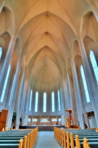 Hallgrímskirkja in Reykjavik Church, Lutheran Parish Church, Tallest Structures in Reykjavik, Iceland, Hallgrímskirkja Interior Hallgrímskirkja church stock pictures, royalty-free photos & images