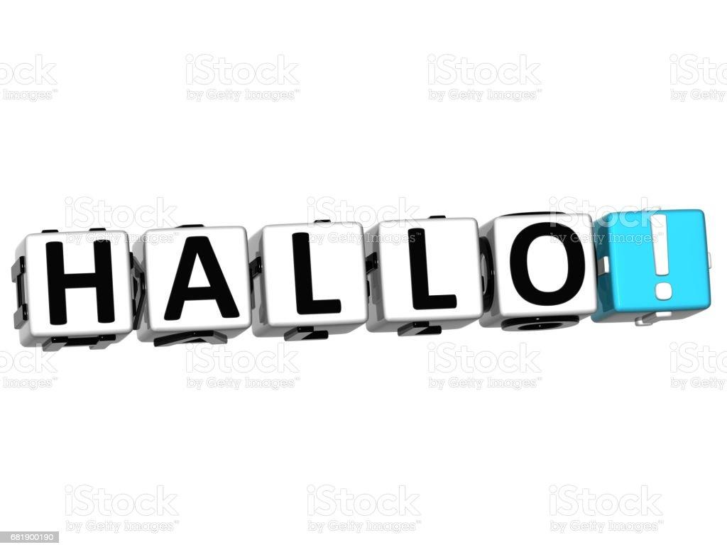3D Hallo block text on white background stock photo