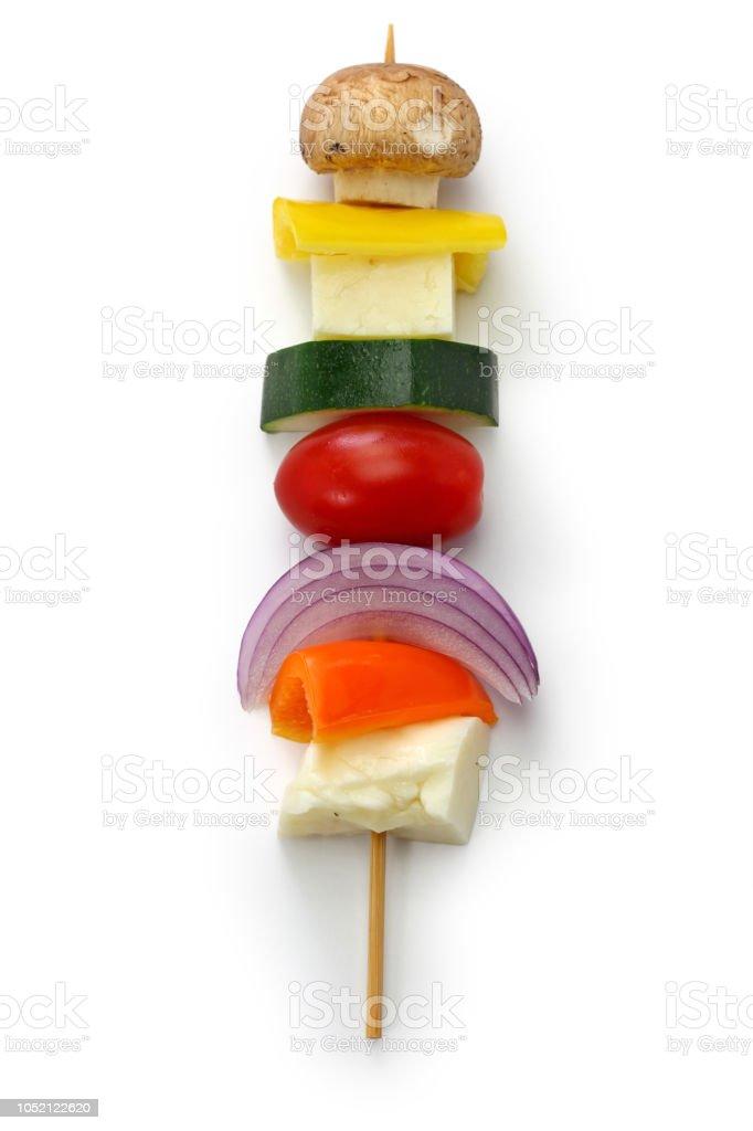 espetinho de legumes de queijo Halloumi ingredientes do kebab, prato vegetariano saudável - foto de acervo