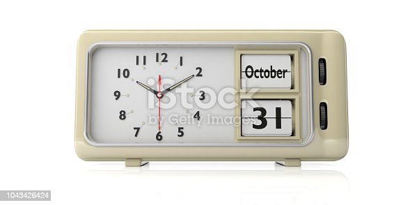 istock Halloween 2019 date, October 31st on a retro alarm clock isolated on white background. 3d illustration 1043426424