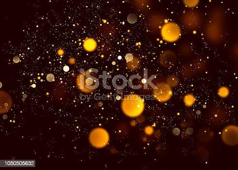 istock Halloween abstract bokeh orange glitter sparkle night background. 1050505632