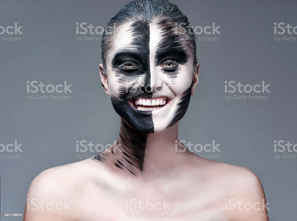 Halloween actress with makeup smiling stock photo