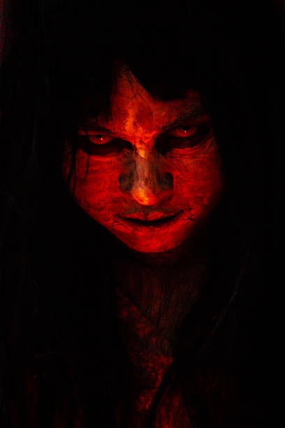 Halloween and horror concept Portrait of angry red body women monster close up.  concept of halloween festival. mass murder stock pictures, royalty-free photos & images