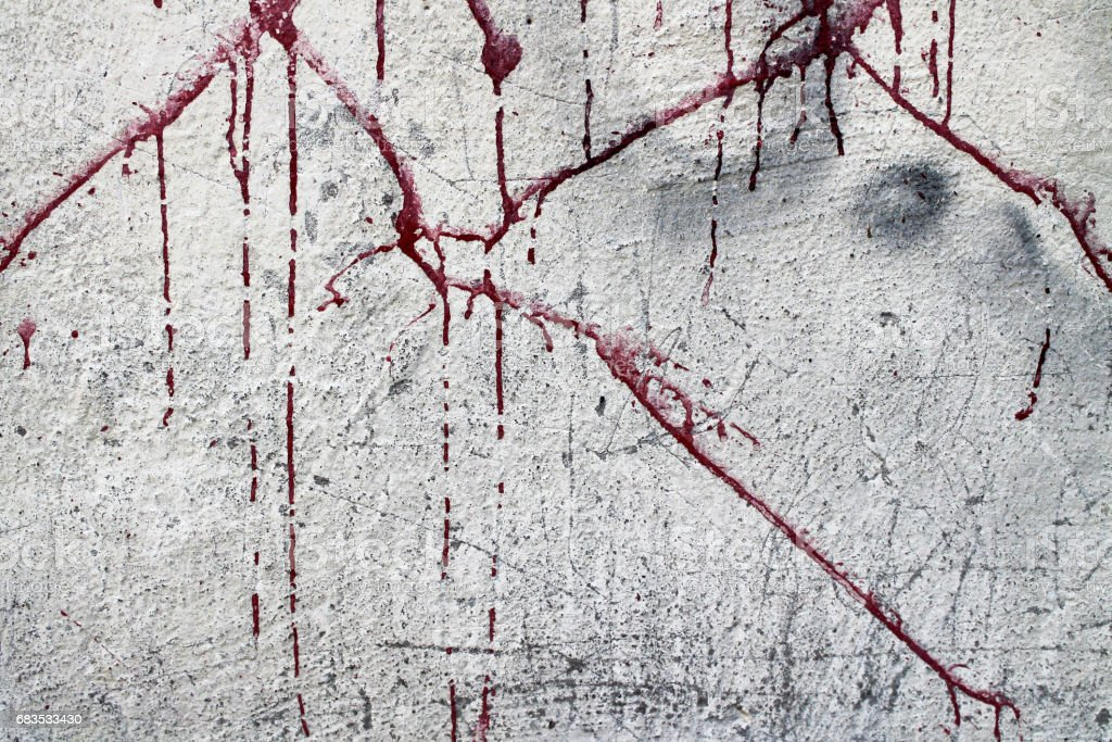 Halloween background. Blood on the wall background. Blood splashed onto the wall, which eventually absorbed the concrete. Blood flows. Wall texture stock photo