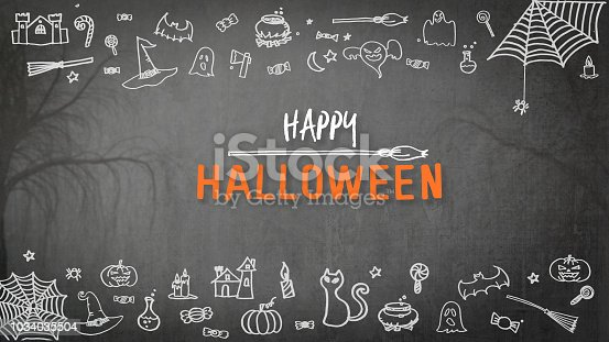 1057069236 istock photo Halloween background for happy halloween holiday greeting festival celebration with chalk doodle on spooky dark black chalkboard with drawing of pumpkin, spider web, witch hat, trick or treat candies 1034035504