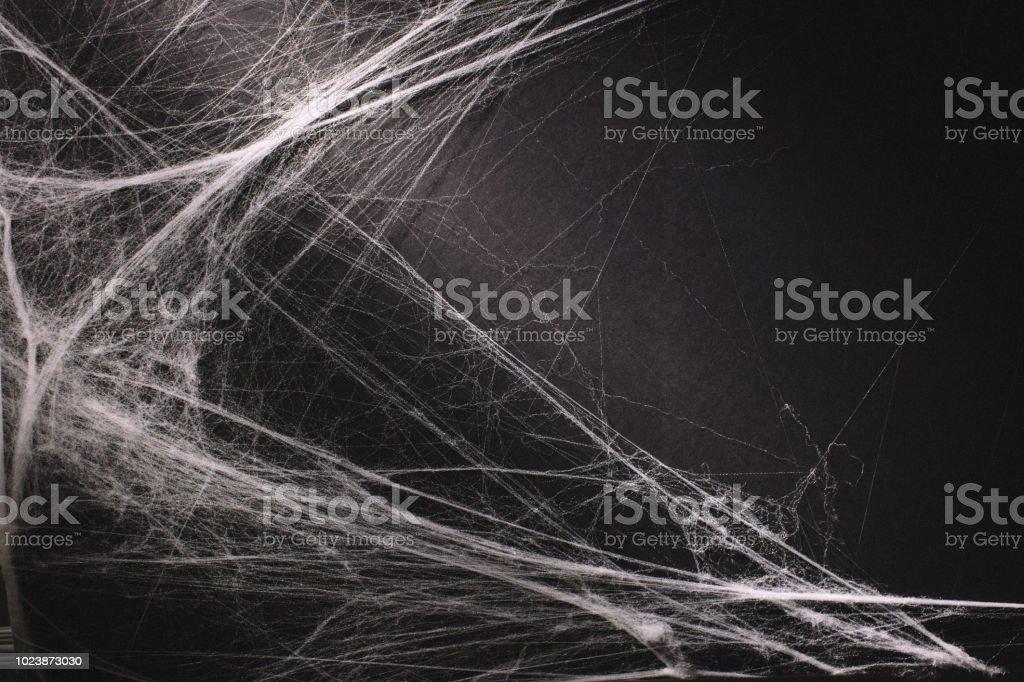 halloween background full of cobwebs stock photo