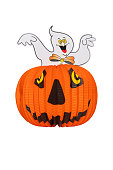 Halloween background. Halloween pumpkin lantern with a ghost on it isolated on a white background. Halloween holiday.
