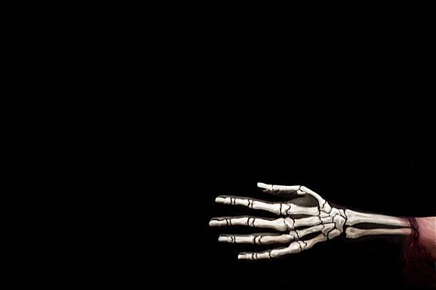 halloween-hintergrund. abbildung im weichen ölgemälde-stil. - skelett hand stock-fotos und bilder