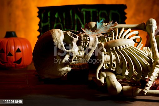 Bright orange background appears as to be an inferno with Halloween decorations in foreground.  Skull and torso in foreground.