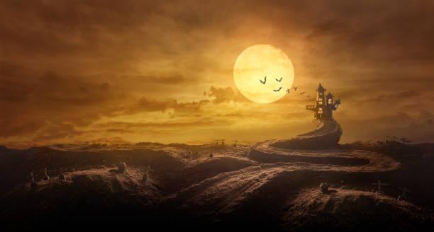 halloween-hintergrund durch gestreckt straße grab zum schloss spuk in nacht des vollmonds und fledermäuse fliegen - waldfriedhof stock-fotos und bilder
