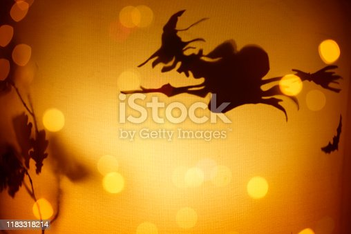 Halloween background - Witch Riding On Broom