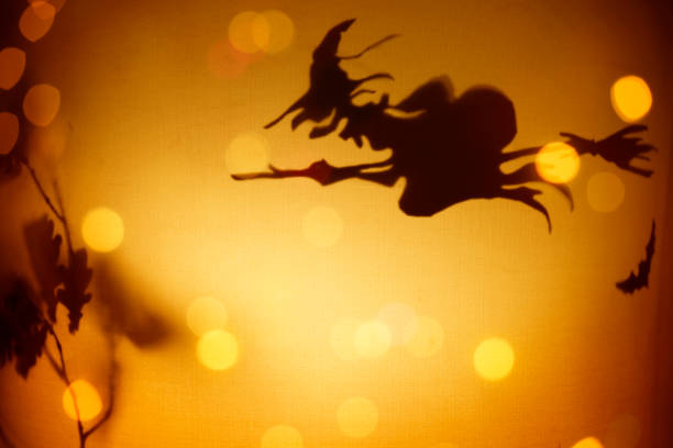 Halloween background - Witch Riding On Broom stock photo