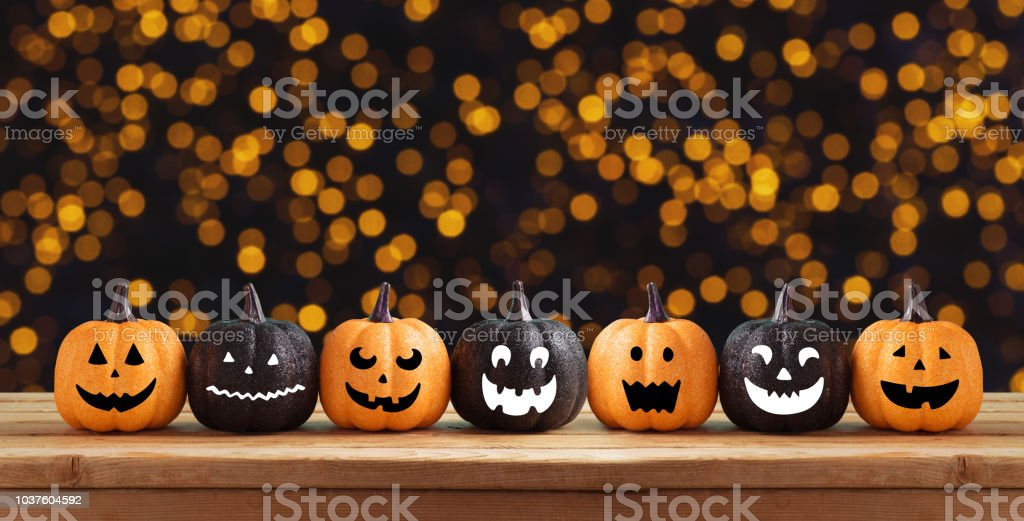 Halloween background with glitter pumpkin characters decor stock photo