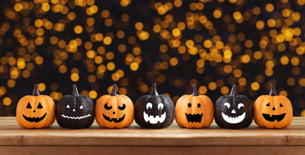halloween background with glitter pumpkin characters decor - happy halloween zdjęcia i obrazy z banku zdjęć