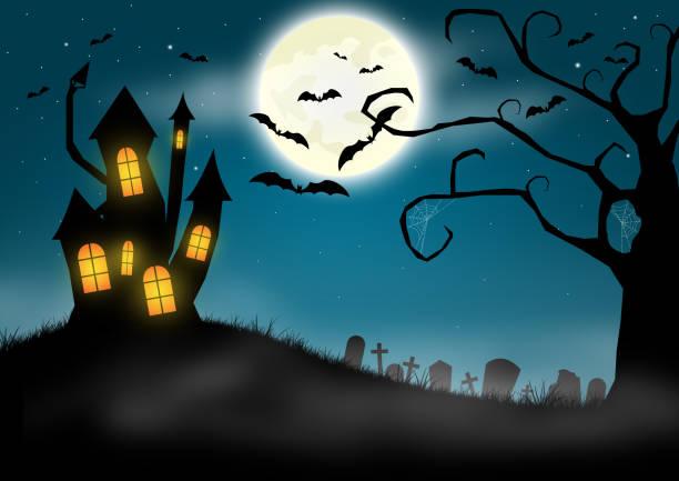 halloween-hintergrund mit spukschloss und friedhof - märchenillustrationen stock-fotos und bilder
