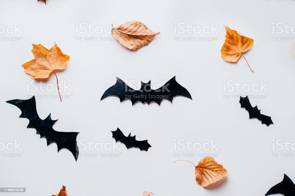 Halloween Background With Paper Bats Decorations Stock Photo