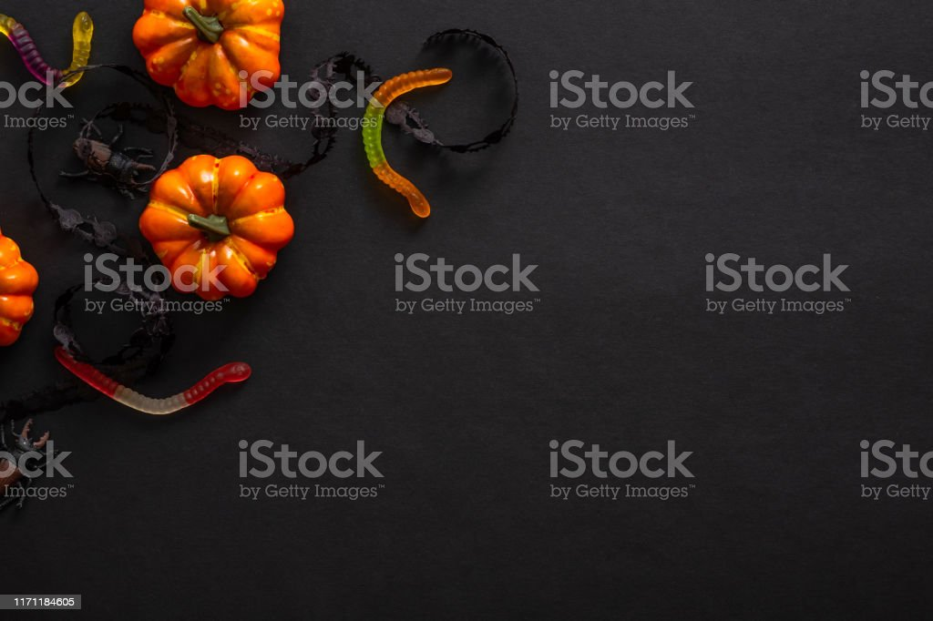 Halloween Background With Pumpkins Candy Decorations