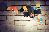 istock Halloween bat family for Halloween concept background. 609914248
