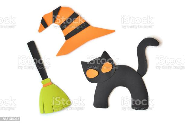Halloween black cat witch broom and hat on white background picture id858136078?b=1&k=6&m=858136078&s=612x612&h=agfwy fme0fhqw9gqdffofi0hd4ehzkauf3kqearalm=
