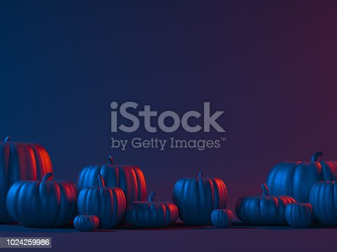 Halloween black pumpkin head jack lantern on dark background. 3d render