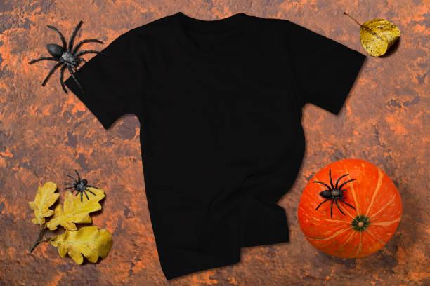 Halloween black T-shirt mockup stock photo