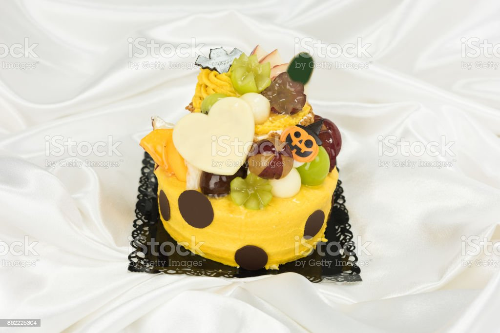 Halloween cake with letters written stock photo