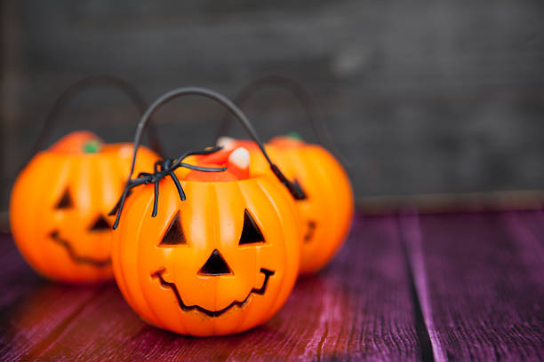 Halloween Candy Background with Copy Space stock photo
