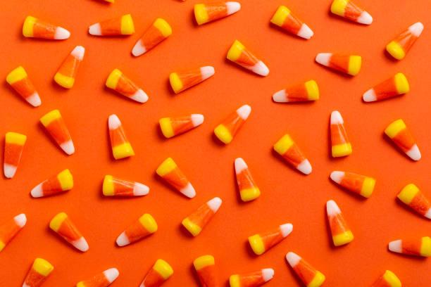 Halloween Candy Corn Blue Background stock photo