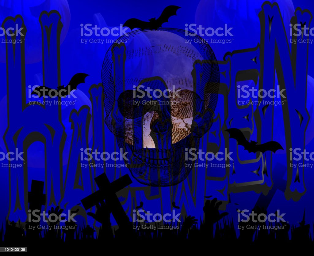 Halloween card with full moon, crosses, tree branches, skull, zombies and bats stock photo
