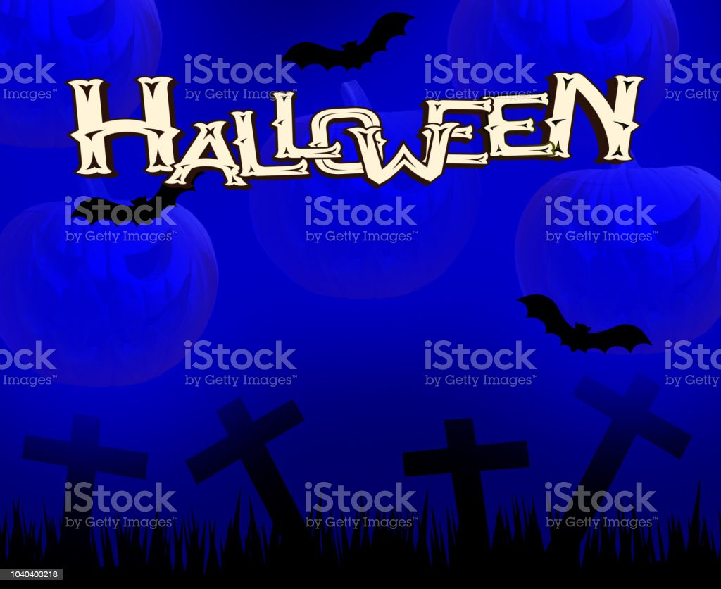 Halloween card with pumpkins, crosses and bats stock photo