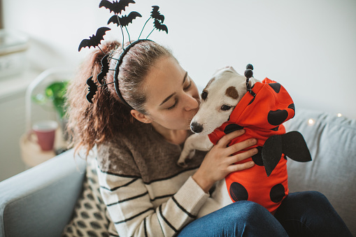 Young woman celebrating Halloween at home with her dog. They are wearing costumes, smiling and enjoy in holiday. Dog wearing costume too