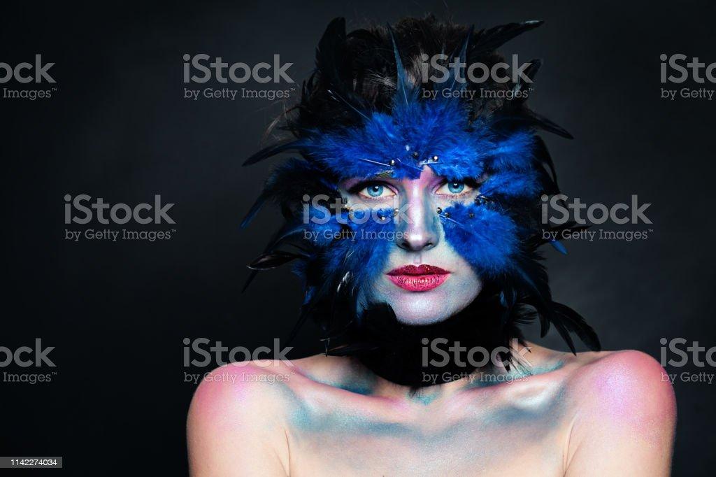 Bird Halloween Makeup.Halloween Character Concept Model Face With Bird Makeup On Dark Background Stock Photo Download Image Now Istock