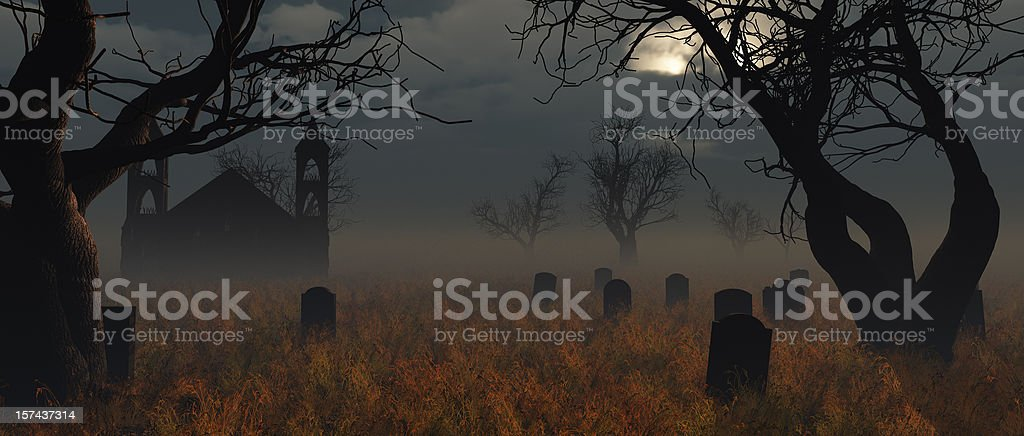 Halloween Church Graveyard royalty-free stock photo