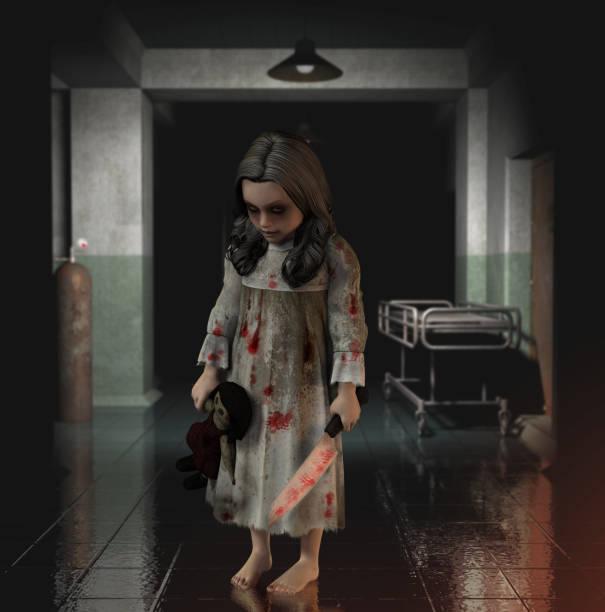 concept de halloween horreur enfant - hopital psychiatrique photos et images de collection